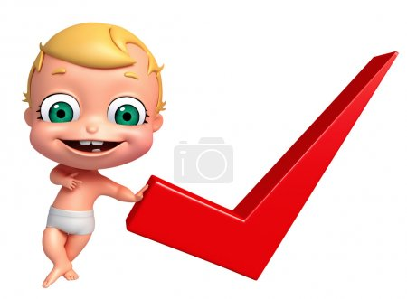 3D Render of baby with Right sign