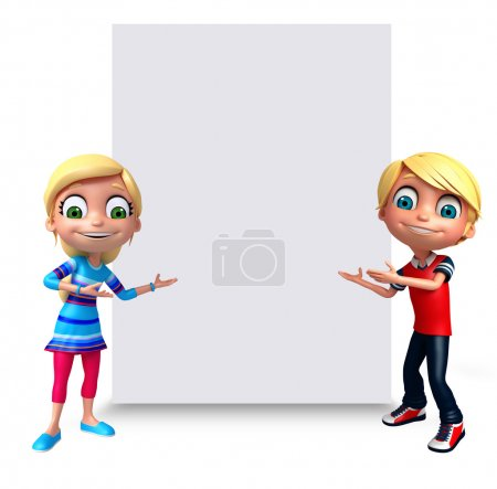 3D Render of Little Boy and Girl with white board