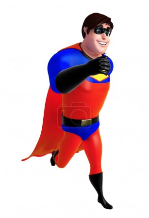 3D Rendered illustration of superhero with walking pose