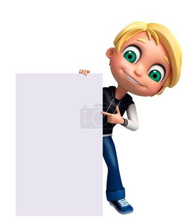 Photo pour 3D Render of Little Boy avec tableau blanc - image libre de droit