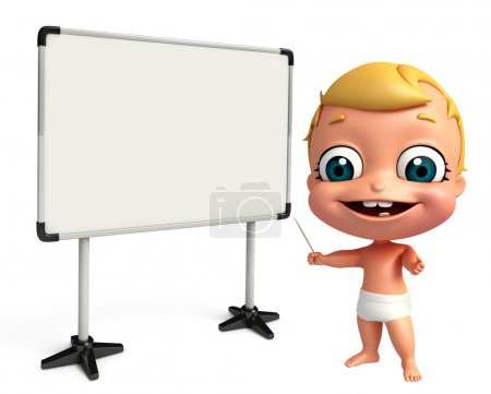 3D Render of baby with white board