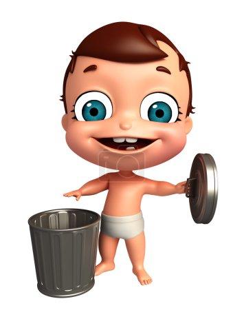 Photo pour 3D Render de bébé avec poubelle - image libre de droit