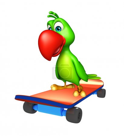 cute Parrot cartoon character  with skateboard