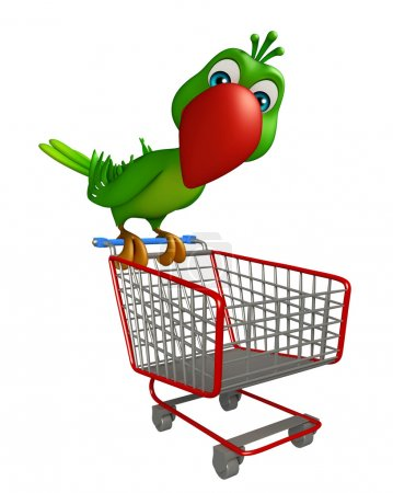 cute Parrot cartoon character with trolly
