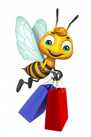 cute  Bee cartoon character with shopping bag