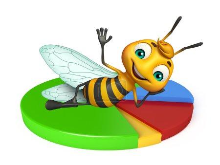 fun Bee cartoon character with circle sign