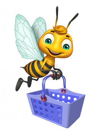 cute Bee cartoon character with basket