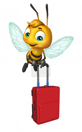 cute Bee cartoon character with travel bag