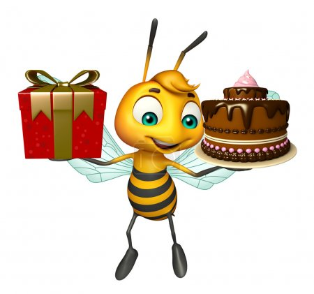 cute Bee cartoon character  with gift and cake