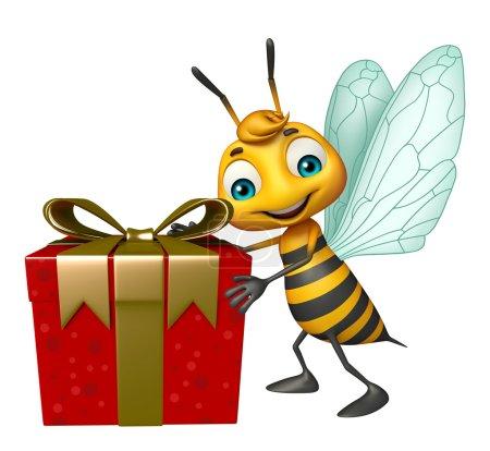 cute Bee cartoon character with gift box