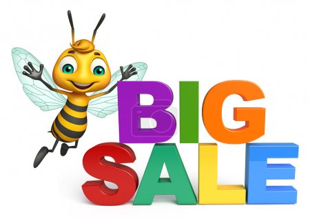 fun Bee cartoon character with big sale sign