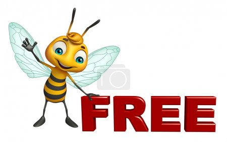cute  Bee cartoon character with free sign