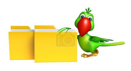 cute Parrot cartoon character with folder
