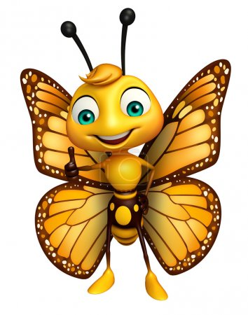 Photo pour 3d rendu illustration des pouces vers le haut personnage de bande dessinée papillon - image libre de droit