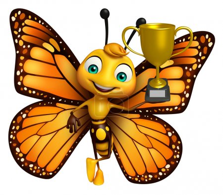 Butterfly cartoon character with winning cup