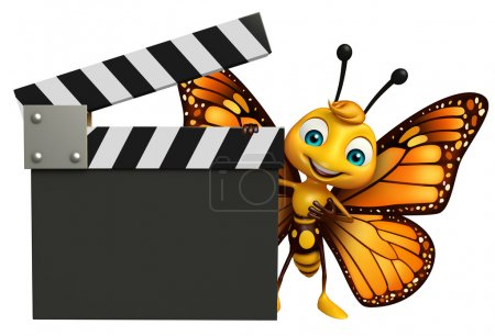 fun Butterfly cartoon character with clapboard