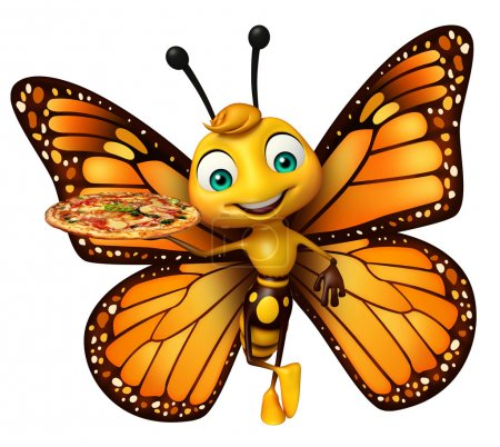fun Butterfly cartoon character with pizza