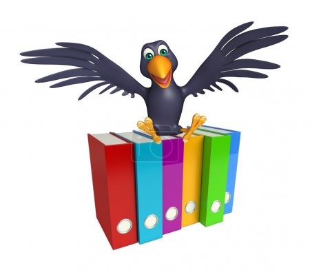 Crow cartoon character  with files