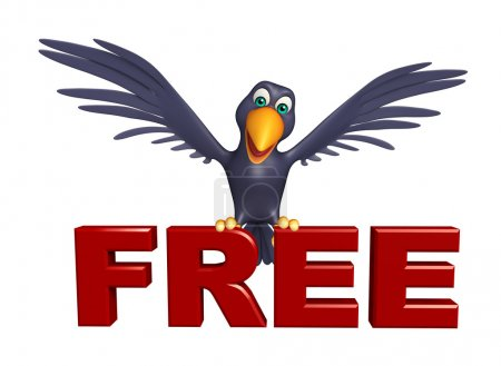Crow cartoon character with free sign