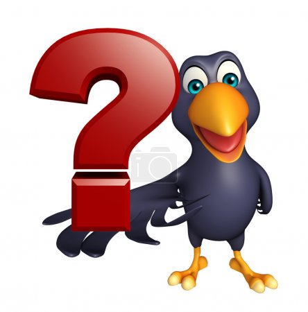 Crow cartoon character with question sign