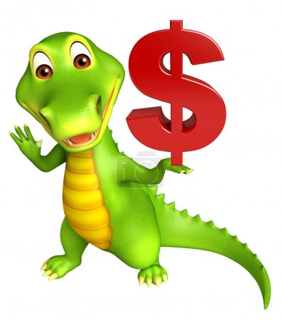 cute Aligator cartoon character with doller sign