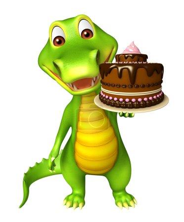 cute Aligator cartoon character  with cake