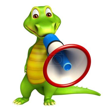 cute Aligator cartoon character with loudspeaker