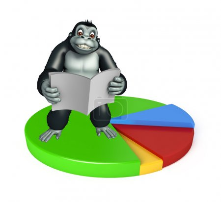 cute Gorilla cartoon character with news paper and circle sign