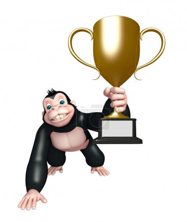 cute Gorilla cartoon character with winning cup