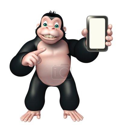 Photo pour 3D illustration rendue de personnage de dessin animé de gorille avec téléphone portable - image libre de droit