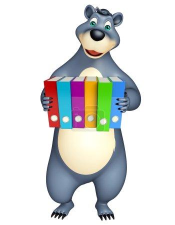 fun Bear cartoon character with files