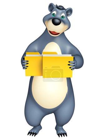 cute Bear cartoon character with folder
