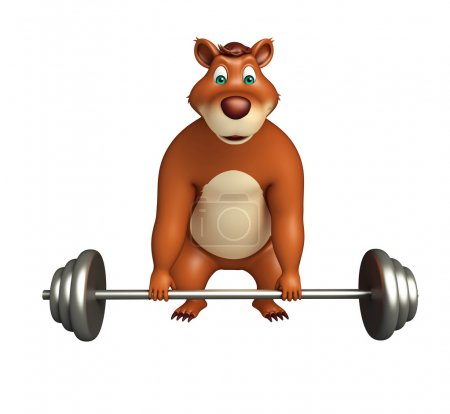cute Bear cartoon character with gim equipment