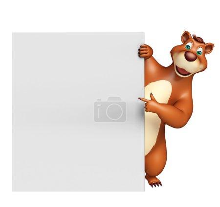 cute Bear cartoon character with white board