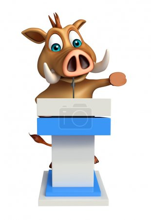 fun Boar cartoon character with speech table