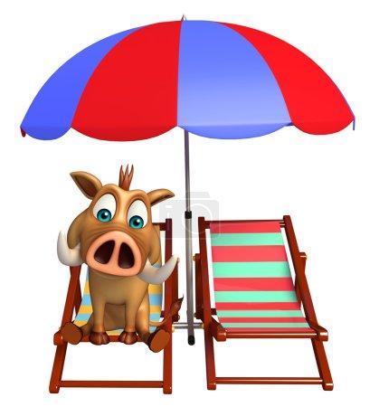 fun Boar cartoon character with beach chair