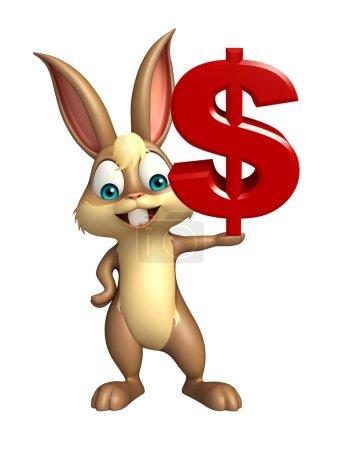 Photo pour Illustration en 3D du personnage de bande dessinée Bunny avec signe de poupée - image libre de droit