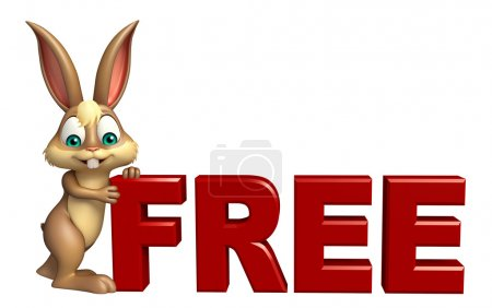 fun Bunny cartoon character with free sign