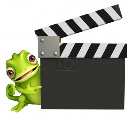 cute Chameleon cartoon character with clapper board