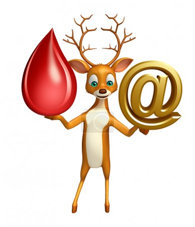 Deer cartoon character blood drop and at the rate sign