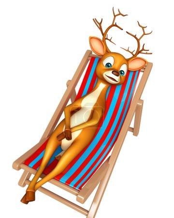 fun Deer cartoon character with beach chair