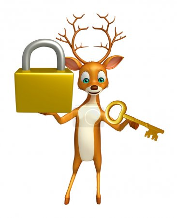 cute Deer cartoon character with lock and key