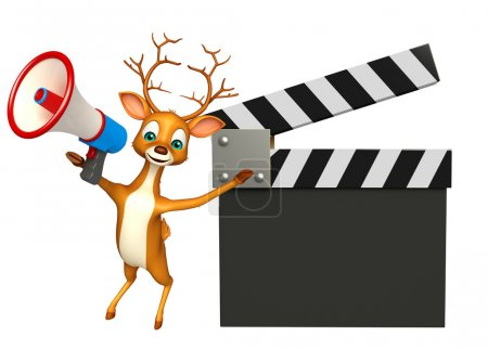 Deer cartoon character with clapper board and loudspeaker