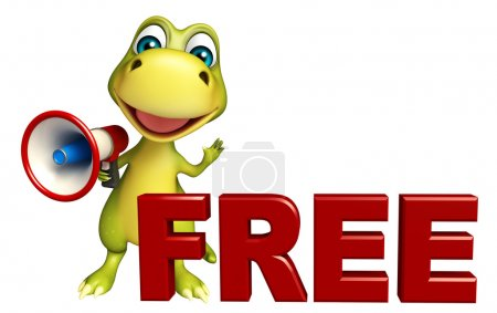 cute Dinosaur cartoon character with loudspeaker and free sign