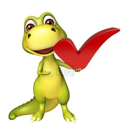 Photo pour 3D illustration rendue de personnage de dessin animé Dinosaur avec bon signe - image libre de droit
