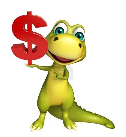 Photo pour Illustration en 3D du personnage de dessin animé dinosaure avec signe de poupée - image libre de droit