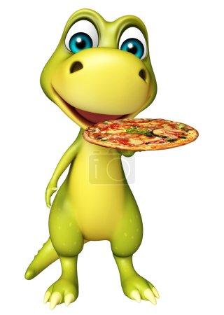 fun Dinosaur cartoon character with pizza