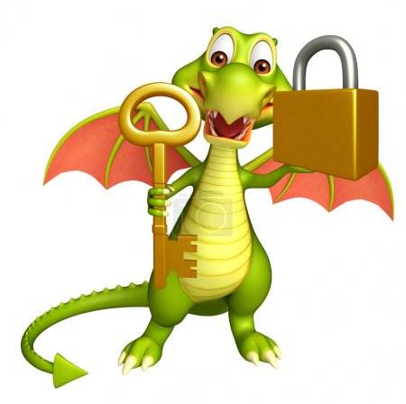 Dragon cartoon character with key and lock