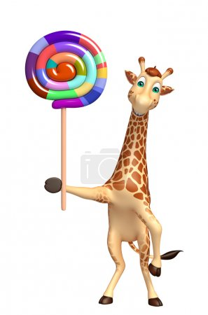 Giraffe cartoon character with lollypop