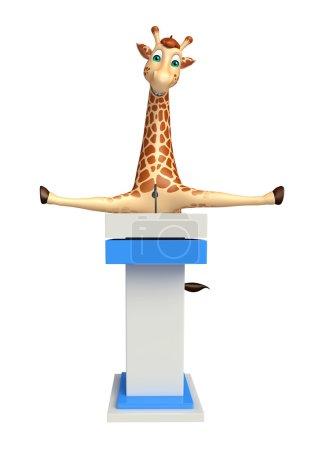 fun Giraffe cartoon character   with speech stage